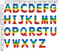 #078IR Rainbow Letter Alphabet A-Z Sew Iron on Motif Patch Applique Hotfix Badge