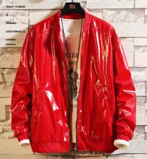 Boy's Men's Fashion PU Leatherette Faux Leather Jackets Coats Shiny M-4XL new