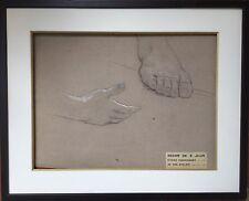 Charles-Emmanuel JADIN 1845-1922.Etude de main et pied.Fusain.32x42.Etiquette.