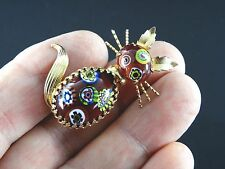 Vintage Rare Jewelry Estate Pin Brooch Murano Millefiori Cat Gold Tone Rare 0422