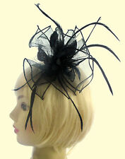 Fascinator in Black Organza with center detail on a  comb, Weddings, Races, Prom