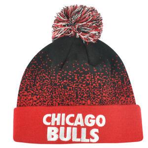 NBA Mitchell Ness Title Knit KM11 Cuffed Pom Pom Beanie Chicago Bulls HWC Skully