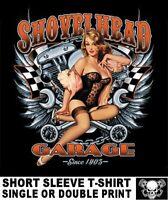 SHOVELHEAD GARAGE MOTORCYCLE V-TWIN ENGINE PIN UP GIRL BIKER SKULL T-SHIRT AB8