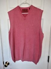 MEN'S sz XL IZOD LUXURY SPORT VINTAGE WASH PINK SWEATER vest COTTON PULLOVER