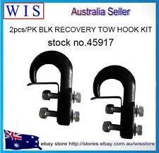 2 x Tow Hook Kit, 4WD Recovery Offroad Winch Cable Anchor Point 4.5T Black-45917