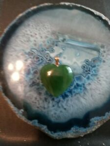 14k Gold Green Jade Heart Pendant