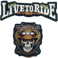 2PC Large Live to Ride+ Skull Southern Discomfort Harley Iron On Jacket Patch