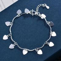 Fashion Silver Love Heart Charm Bangle Ladies Bracelet Jewelry Accessories Gi oq