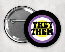 More details for they / them pronouns non binary badges 1 inch 25mm pin button badge