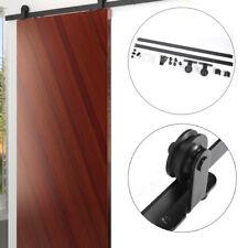 CCJH 8FT-244cm Bypass Quincaillerie Kit de Rail Roulette pour Porte Coulissante Ensemble Industriel Hardware kit pour Deux Portes Suspendue en Bois