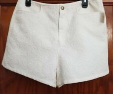 Urban Outfitters Women's White Embroidered Floral Summer Shorts Size 12 NEW