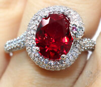 Large 2CT Oval Red Ruby Ring Women Engagement Jewelry 14K White Gold Plated