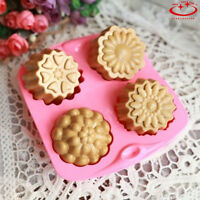 4 Cavity Flower Silicone Soap Mold Cake Decor Candy Chocolate Cookie Baking Mold