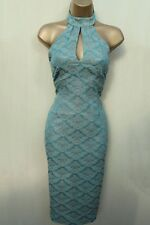 UK 10 KAREN MILLEN Vintage Oriental Teal Blue Gold Jacquard Halterneck Dress