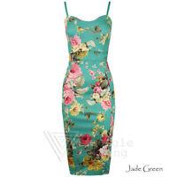 Ladies Green Pink Flower Dress Jade Spring Summer Floral Bodycon Celeb 8 - 26