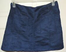New Womens size 16 Faux Suede Mini Skirt Old Navy Blue Front Pockets XL