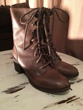Soho brown leather Cameliah Cobbler lace-up ankle grunge boots Size 7