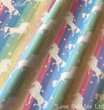 ROSE & HUBBLE PASTEL RAINBOW UNICORN FABRIC 100% COTTON 112CM WIDE HALF METRE