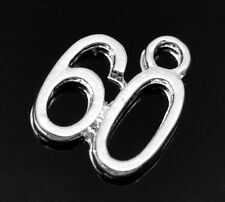 10 Number 60 Sixty Age Years Birthday Silver Plated Charms Pendants (030)