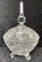 Covered Candy Compote Dish Whirling Pinwheel 8 Point Star Crystal Glass Vintage