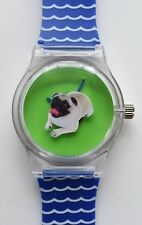 Puppy Pug dog watch - 80s designer style watch