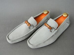 Gucci 138204 Light Blue Suede Moccasins Driving Loafers Mens Shoes 8.5UK 9US