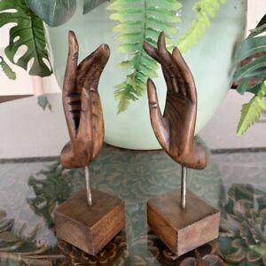 2x Wooden Art Vintage Brown Hand Buddha Sculpture Handcraft Home Decor Gift Thai