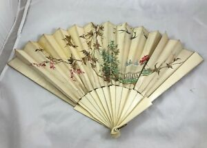 Antique Celluloid Large Ladies Fan Hand Painted Silk Outdoor Patio Trees Scene