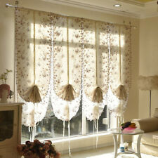 Embroidered Floral Balloon Shade Sheer Voile Cafe Kitchen Curtain Panel