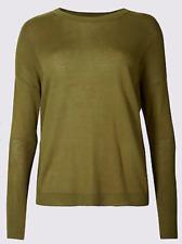 M&S Plus Size Curve 24 Ladies Khaki Green Jumper Top Marks & Spencer