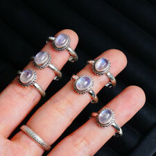 Oval Natural Rainbow Moonstone 925 Sterling Silver Ring Jewelry For Women