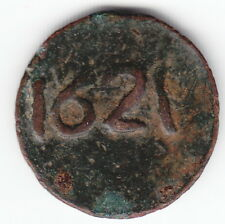 MOROCCO 1 falus 1261 1845 C122a.1 Cast Bronze NO mint name ERROR 1621 VERY RARE!