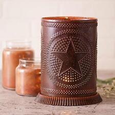 Country new large distressed RUSTY tin punched STAR candle warmer /light