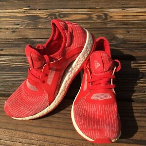 Adidas Pure Boost X Red Pink Prime Knit Running Shoes AQ3399 Size 6.5