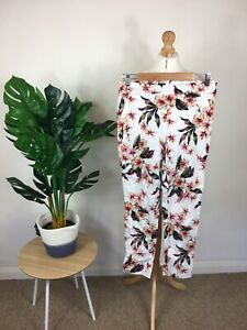 Womens Size 12 14 Floral Trousers Tropical Print Pattern Pink White Summer Beach