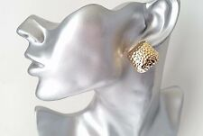 Gorgeous  gold tone patterned metal button style stud earrings - 22mm* NEW