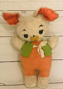 "Vintage Gund Stuffed Rabbit Wearing Felt Vest 16"" Good Condition With Tag"