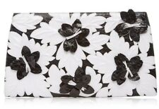 $2850 NEW Nancy Gonzalez Crocodile Floral Slicer Clutch Black White Alligator