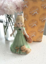 "Enesco Growing Up Birthday Girls Age ""7"" Blonde Figurine 1981"