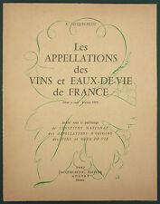 LES APPELLATIONS DES VINS ET EAUX DE VIE DE FRANCE - 1957 - OENOLOGIE