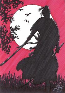 original drawing A5 114LV samovar Art marker knight warrior samurai Signed 2021