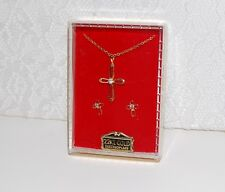 CROSS Charm Pendant Necklace + Earrings 22 KT Gold Electroplate-Gift Box