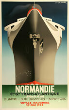 Vintage Nautical Poster Normandie Distil after A.M. Cassandre 1998 French Line