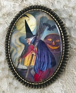 WITCH Glass Dome BROOCH Pin Vintage BRONZE OR SILVER  Halloween Cauldron Spell