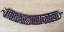 elena khudiakova Designer RCI Black Red Gem Beaded Necklace Choker New Aztec