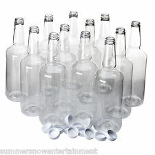 Dozen Long Neck PET Plastic Bottles 32 Ounces with lids