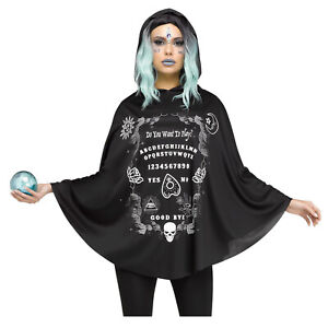 Womens Hooded Poncho Cape Ouija Spirit Board Easy Witch Halloween Costume