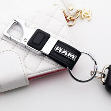 For RAM 3D Alloy Black Leather Keychain Ring LED Flashlight Opener Home Car Gift