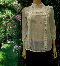 Miss Selfridge Blouse Lace Yolk High Collar Size 10 Victorian Size 10