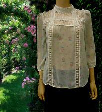 Miss Selfridge Blouse Lace Yolk High Collar Size 10 Victorian Size 10